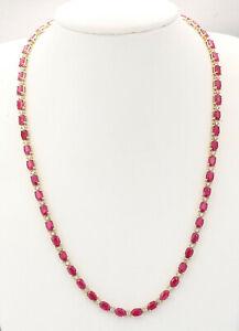 30.70 Carat Natural Ruby 14K Yellow Gold Diamond Necklace