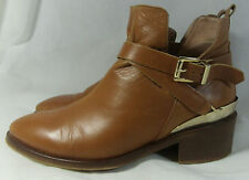 River Island tan genuine leather riding chelsea Ankle boots UK 6