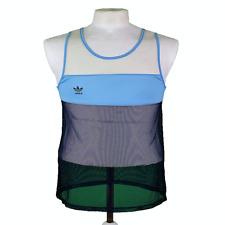 Vintage 70s 80s Adidas Sports/Athletics Vest Blue/White Size S 383 P