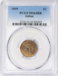 1909 Indian Cent PCGS MS-63 RB
