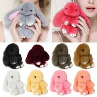 Rex Rabbit Fur Cute Bunny Pom Ball Doll Toy Keychain Charm Handbag Pendant Decor