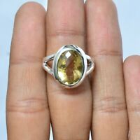Valentine Gift Citrine Handmade Jewelry 925 Solid Sterling Silver Ring Size 8