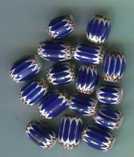 African trade beads Vintage Venetian 16 glass  6 layer blue chevrons