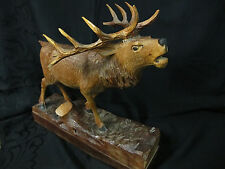 Röhrender Hirsch handgeschnitzt signiert HD vintage belling stag wood carving