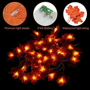 Halloween Battery Fall Maple Leaves LED Fairy String 40 Lights Lamp Decoration