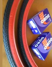TWO(2) 700x25C DURO BICYCLE TIRES BLACK N RED & 2 TUBES ROAD FIXIE TRAC BIKES