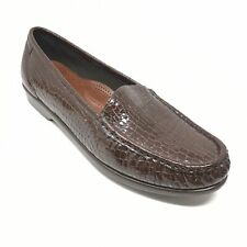 Women's SAS Simplify Loafers Shoes Sz 10.5M Brown Croc Print Patent Leather AG9