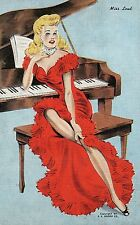 Miss Lead Woman in Red dress on Piano Pin Up Risque Postcard
