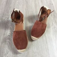 See By Chloe Glyn Flat Espadrilles Brown And Tan Suede Ankle Strap 36 EU / 6 US