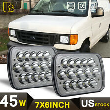 A Pair LED Headlights Ford E-150 E-350 Econoline Club Wagon 92-14 E250 Cargo Van