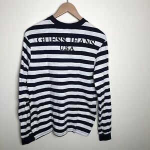 Guess X ASAP Rocky Navy Blue Striped Tee T-Shirt Size Small S