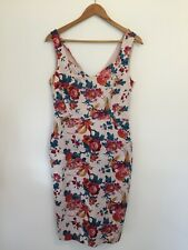 Oasis Dress UK 12 Pink Floral Bodycon Wiggle Strappy Party Special Occasion
