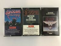 Lot of 3 Saxon Cassette Tapes - Power Glory - Denim Leather - Wheels of Steel