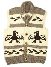 VTG Cowichan Handknit 100% Wool Tan Brown Eagle Intarsia Button Up Vest M Canada