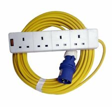 16A 230V Yellow Male to 4 Gang Hook Up Extension Cable Lead - Caravan, Camping