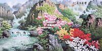 100% ORIENTAL ASIAN ART CHINESE SANSUI WATERCOLOR PAINTING-House&Landscape View