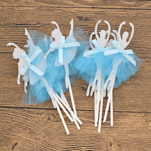 10pcs Ballet Dance Girl Princess Dress Cake Decoration Topper Pick Wedding Party