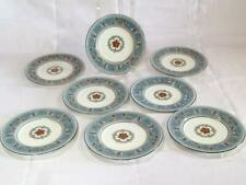 "8 Pc Wedgwood Florentine Turquoise Blue Dessert / Pie Plates 7"""