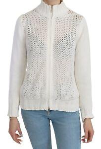 DIANE FIRSTEN Sweater White Long Sleeve Zippered Cardigan IT42/ US8/ M