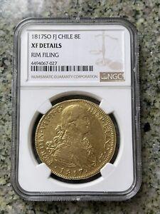 1817 SO FJ Chile 8 ESCUDOS NGC XF
