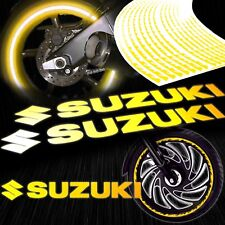 "8"" Reflective Logo Decal+Fire/Flame Rim Tape/Wheel Stripe Sticker Suzuki Yellow"