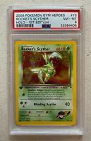 WOTC 2000 Pokemon Gym Heroes Rocket's Scyther Holo 1st Edition PSA 8 NM-MT #13