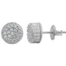 """Men Real Solid 925 Sterling Silver 1/3"""" Round Cluster Earrings Diamond Studs Ice"""