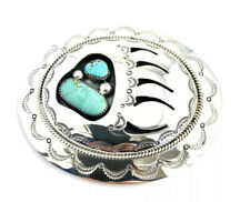 Native American Sterling Silver Navajo Bear Paw Design Turquoise Belt Buckle