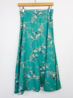 Vintage Cue Womens A-Line Skirt Green Rayon Oriental Asian Inspired Size 6