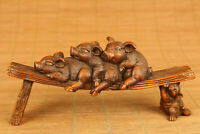 Chinese old boxwood hand carved pig statue netsuke collectable ornament
