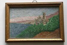 Antik Gobelin Stickbild Biedermeier mit Bilderrahmen Goldrahmen