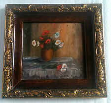 vintage Romanian painting signed carved wood frame floral flowers 1939-50 Europe