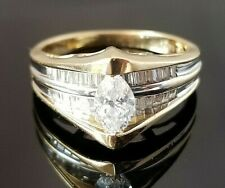 .95TCW Vintage Marquise Solitaire Baguette Diamond 14k yellow gold ring