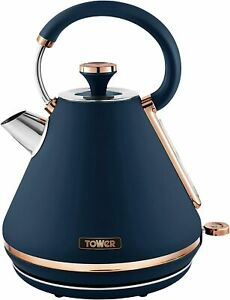 Tower T10044MNB Cavaletto Pyramid Kettle, 3kW, 1.7 L, Rose Gold & Midnight Blue