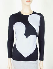 3dd3cbd79eb2e8 Cynthia Rowley All Over Hearts Tee Black White Athletic Top XS 9252 Bm12