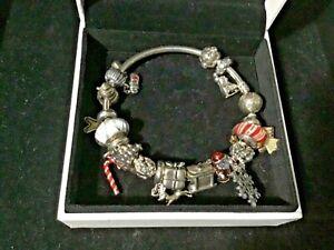 Authentic PANDORA Christmas Bracelet Lots of Retired Charms 17 pandora Charms