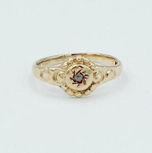 Darling Victorian 10k Yellow Gold & Diamond Baby Ring Sz 1