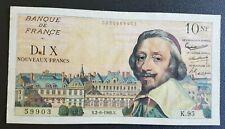 FRANCE - FRANCIA - FRENCH NOTE -  BILLET DE 10NF RICHELIEU DU 2/6/1960 - R3.