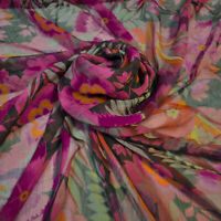 Etro authentic mulberry silk FABRIC. Made in Italy. Flowers print Price for 1m.