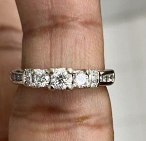 10K White Gold Women's 3Stone Diamond Engagement Wedding or Promise Ring sz4.5