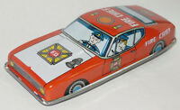 VINTAGE 1960s TIN FRICTION LITHO FIRE CHIEF CAR! BRIGHT RED! MADE IN JAPAN