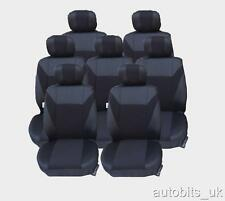 VW TOURAN SEAT COVERS FULL SET BLACK 7X FABRIC FOR 7 SEATER  MPV