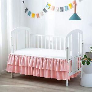 "JSD Pink Double Layer Crib Skirt Dust Ruffle 14"" Deep Pocket, Microfiber"