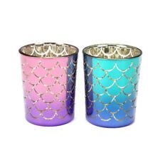 Puckator Set of 2 Mermaid Scales Votive Holders Candle Tealight Holder Jar Decor