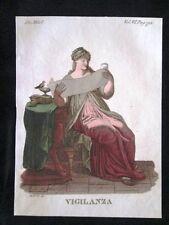 Allegoria della Vigilanza Incisione colorata a mano del 1820 Mitologia Pozzoli