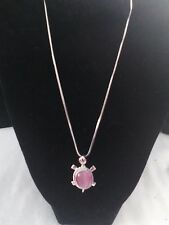 Pink Rhinestone and Cat Eye Turtle Necklace new