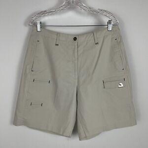 "Jamie Sadock Golf Cargo Shorts Women's Sz 12 Beige 9"" Inseam Bermuda Quick Dry"