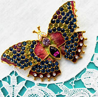 Signed ANNH New Vintage Style BUTTERFLY Brooch Pin Rhinestone Enamel Designer!