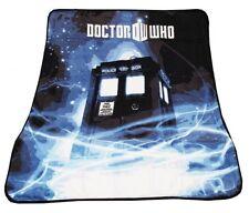 """Doctor Who Throw Blanket TARDIS Gallifrey Fleece 50"""" x 60"""" Afghan, New"""