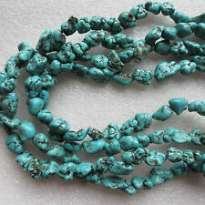 "16"" Semi-Precious Gemstone Natural Genuine Turquoise Round Nugget Beads 8 - 14mm"